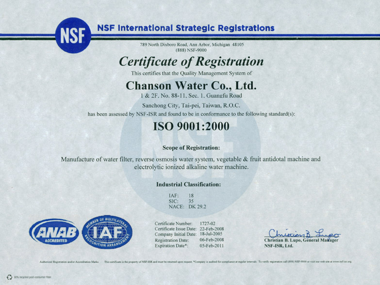 Chanson Water is ISO 9001 Certified